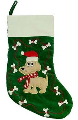 Dog and Bones Embroidered Stocking - Plush Puppies