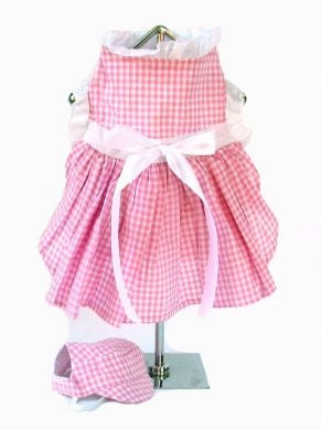 Pink Gingham Dog Dress with Visor Hat - Doggie Design