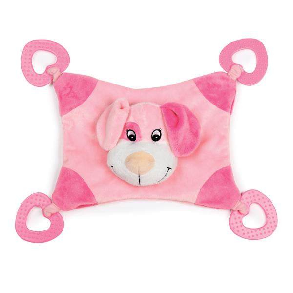 Zanies Puppy Snugglers Teething Blanket Dog Toy Pink