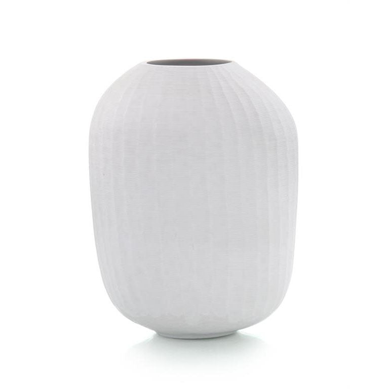 Vertical Hand-Chiseled White Vase