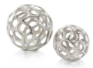 Set of Two Silver Balls With Holes