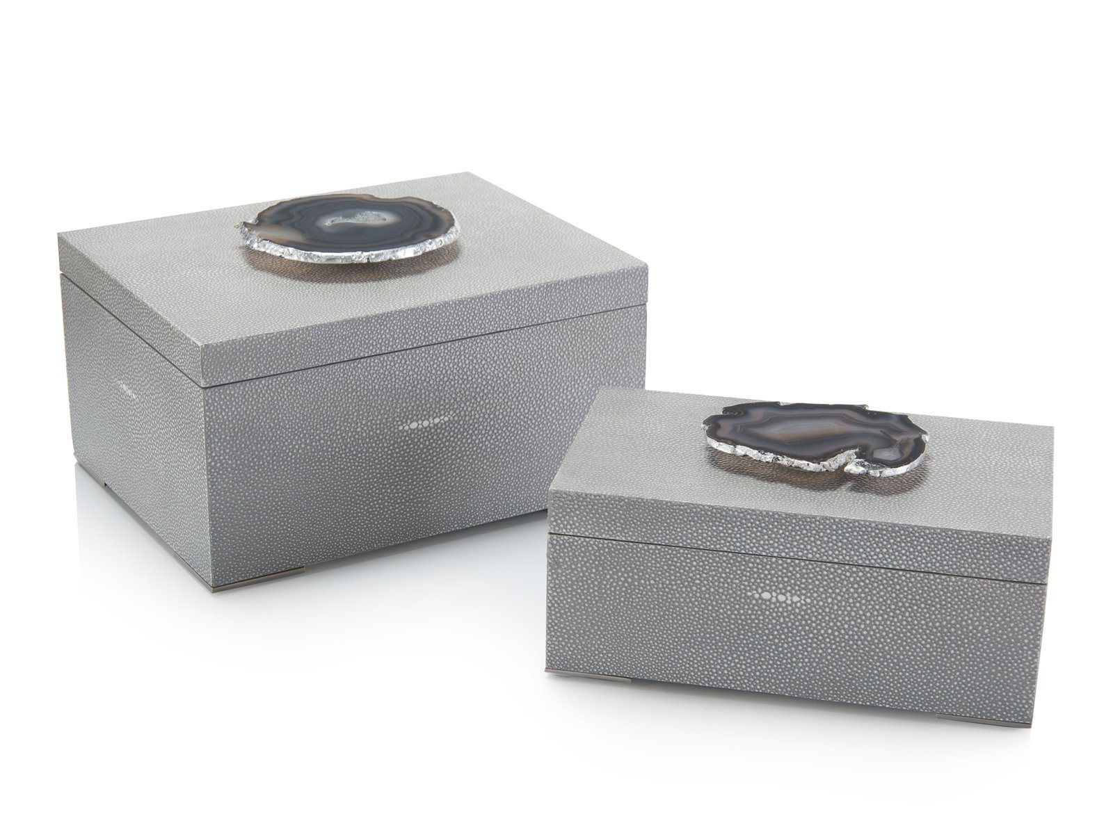Set of Two Gray Shagreen and Geode Boxes