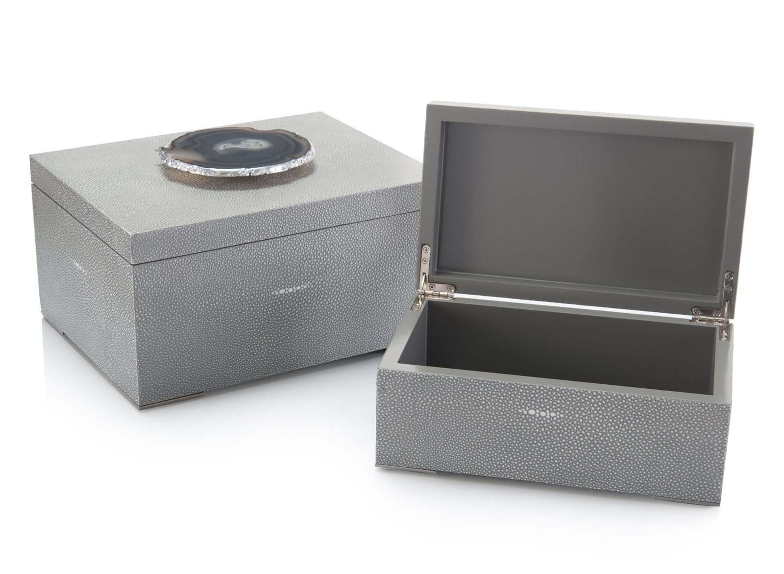 Set of Two Gray Shagreen and Geode Boxes opened