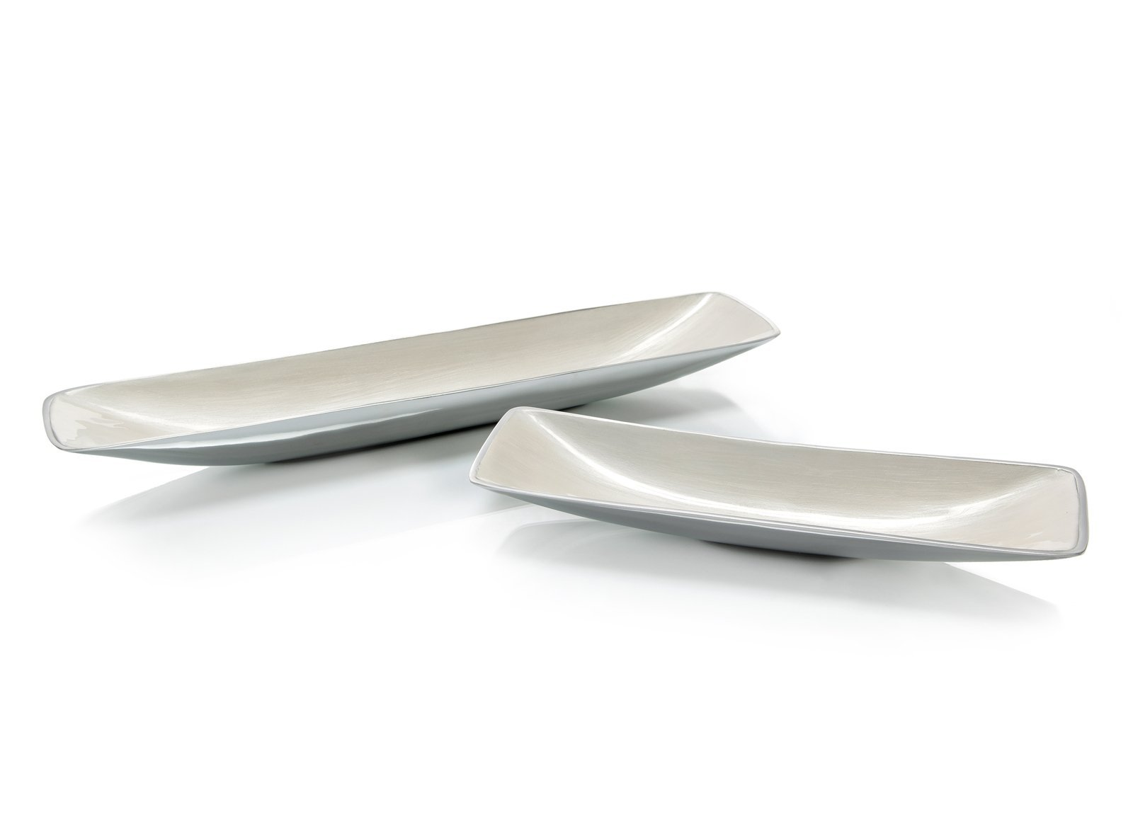 Set of Two Long Trays in Silver Streaked White Enamel