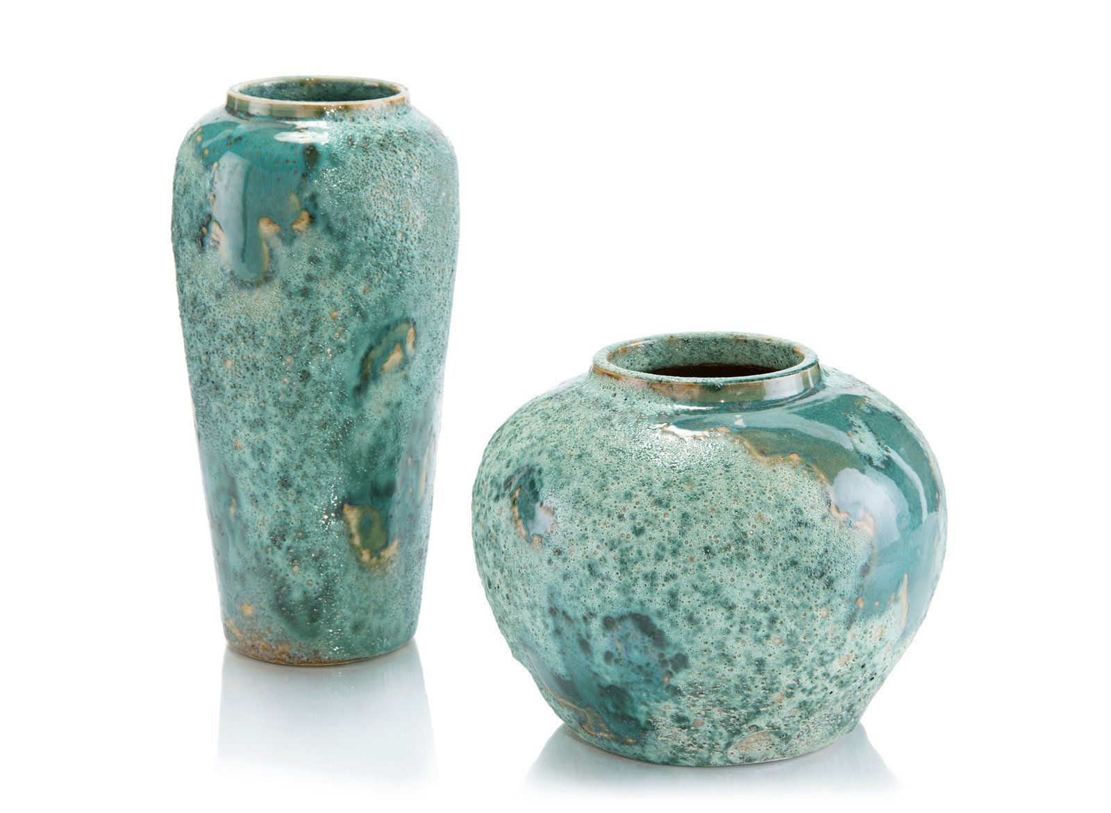 Set of Two Sea Foam Vases