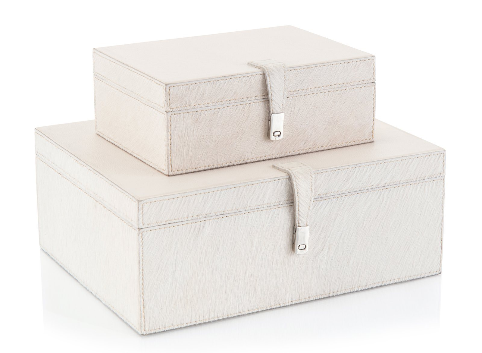 Set of Two Cream Leather Boxes