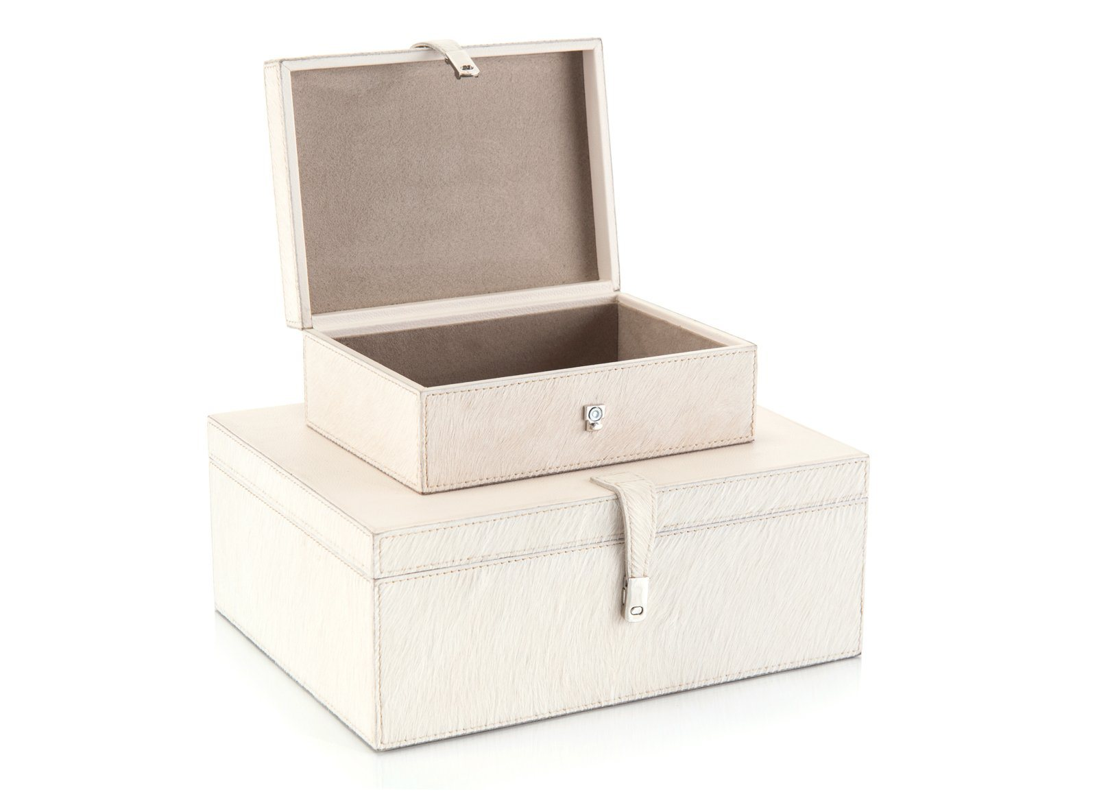 Set of Two Cream Leather Boxes Opened