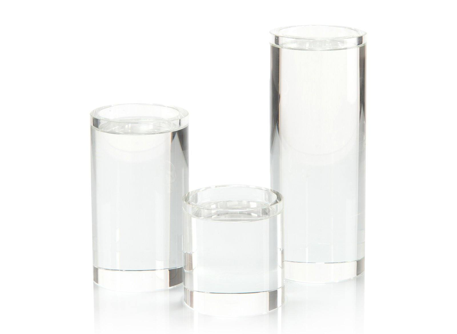 SET OF THREE PILLAR CRYSTAL CANDLEHOLDER
