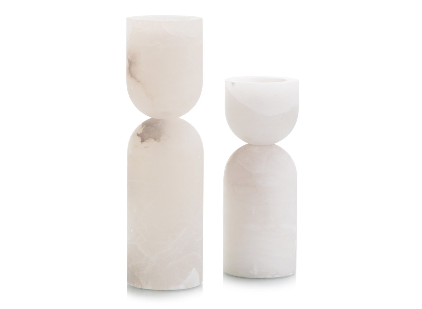 Set of Two Alabaster Candle Holders