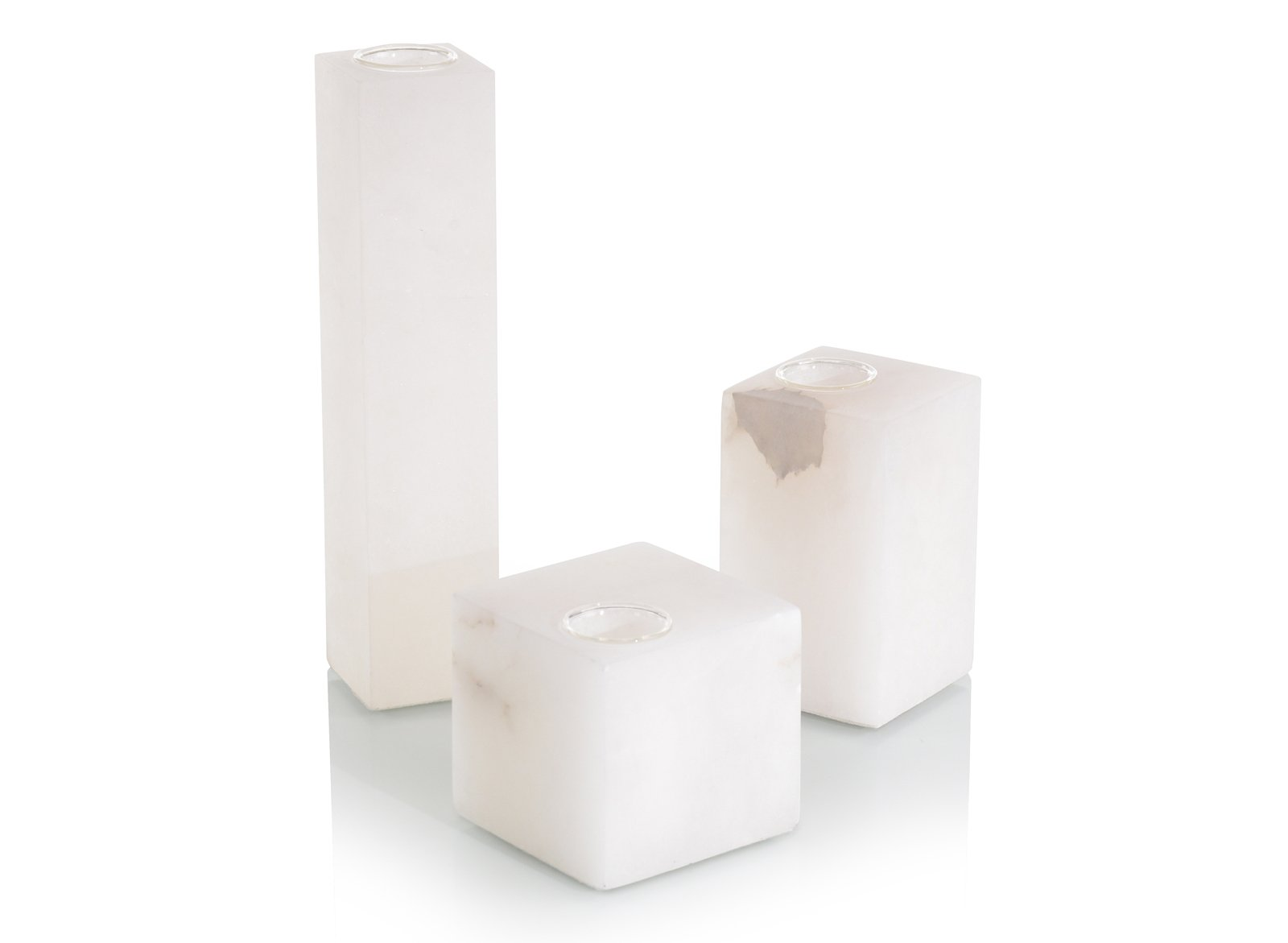 Set of Three Cubist Alabaster Vases