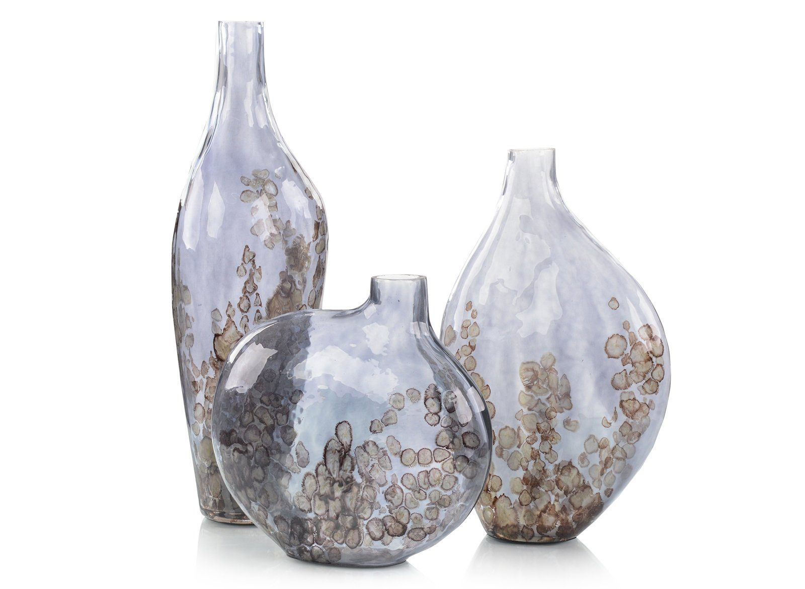 Set Of Three SKY Gray Cracked Glass Vase