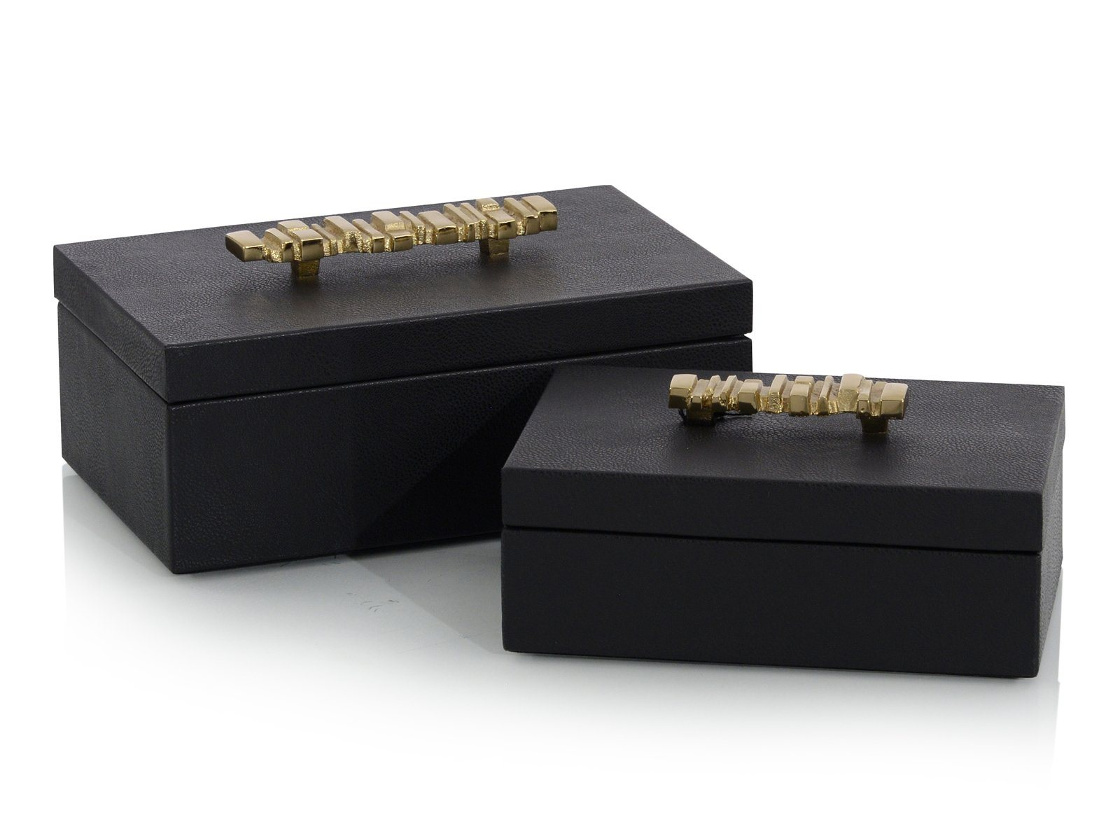 A Set of Two Onyx Antique Grain Leather Boxes