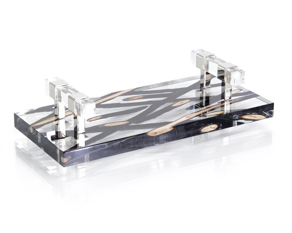 Charred Branches Suspended in Acrylic Tray