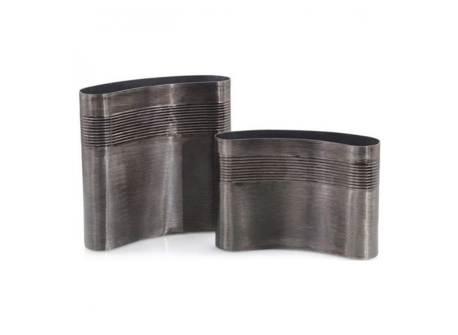 Set of Two Brushed Smokey Black Curved Vases