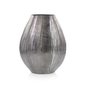 Smoley Black Chiseled Oval Vase II