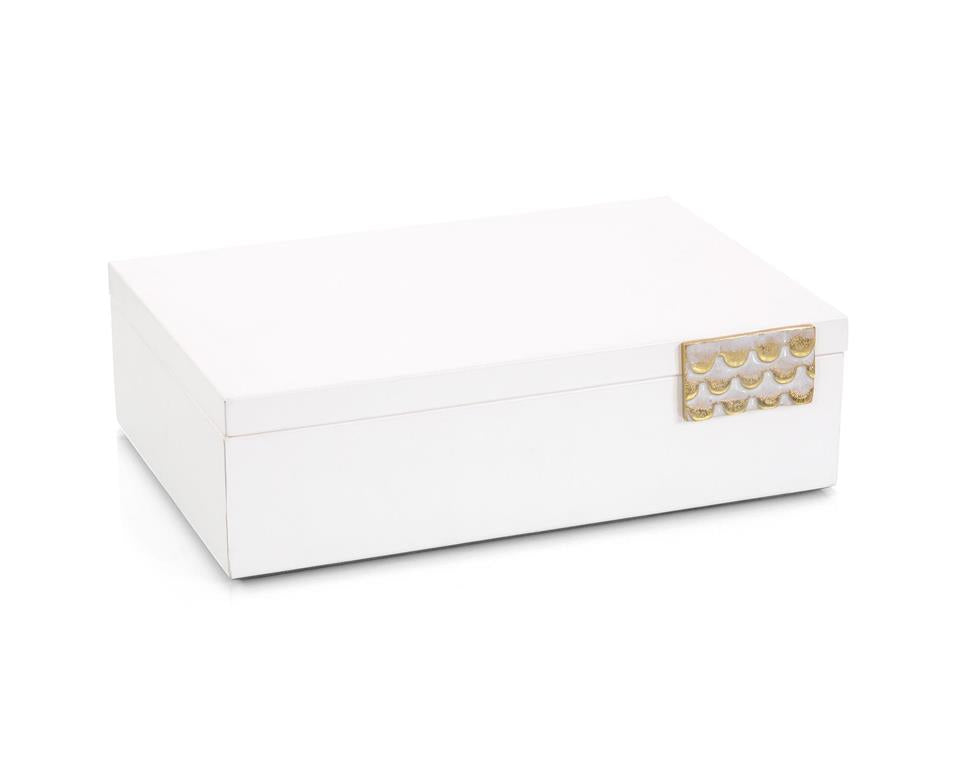 Porcelain White Leather Box II
