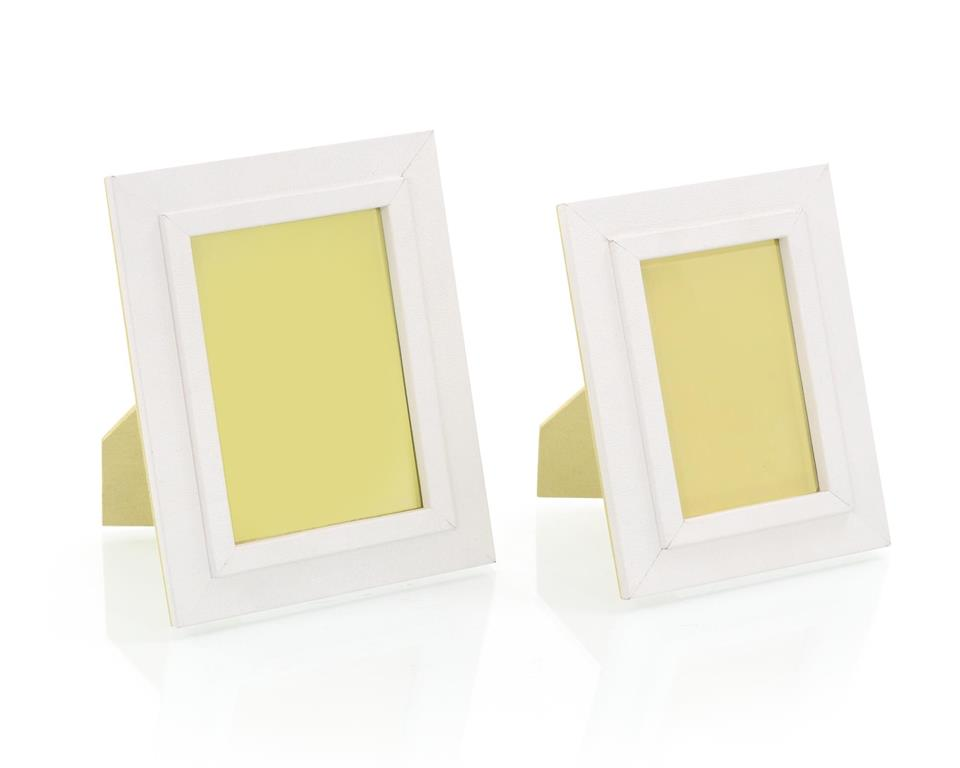 Set of Two White Leather Photo Frames