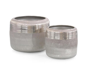 Set of Two Ribbed Jars