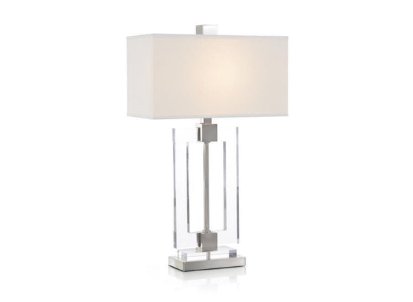Glass and Brushed Nickel Frame Table Lamp