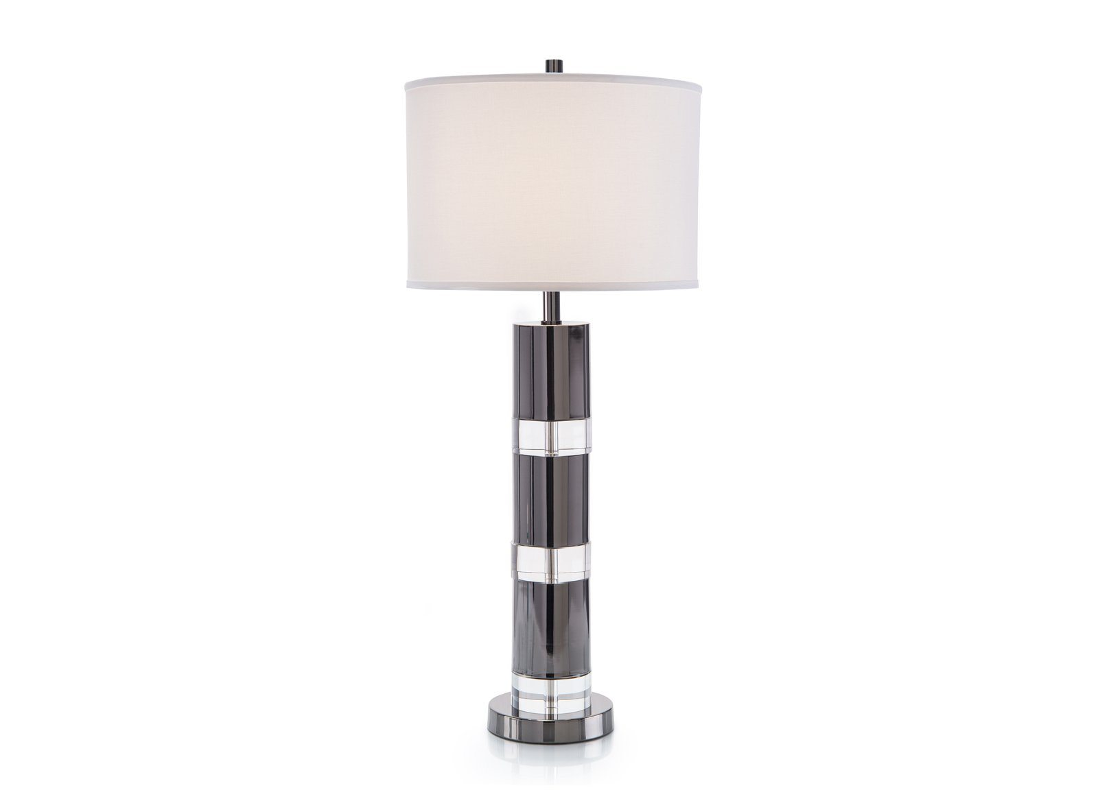 Bands of Plated Chrome Table Lamp