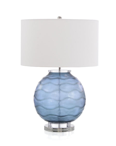 Carved Prussian Blue Table Lamp