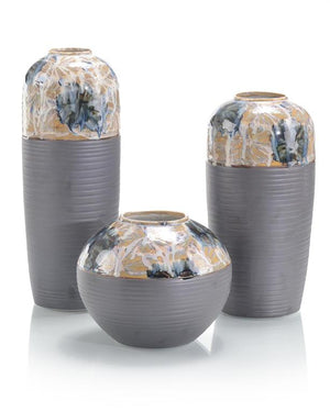 Set of Three Hand-Painted Porcelain Blossom Vases