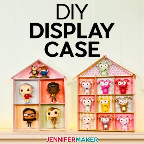 Learn how to make your own DIY display case with Kraft board or cardstock, creating the perfect house-shaped display for small things like Cricut Cuties, small Funko Pop figures, and other keepsakes!