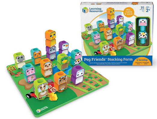 Peg Friends Stacking Farm  Peg Friends Stacking Farm is an updated version of an old-fashioned pegboard activity. I previously blogged about Peg People Around the Town, which includes a mat with a town scene and 9 3-piece peg community helper...