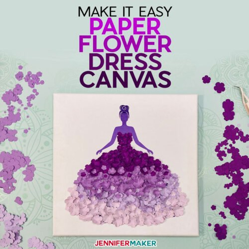 "Learn how to make a super easy paper flower dress canvas to ""dress up"" your wall! This pretty wall art makes lovely home decor or a special gift"