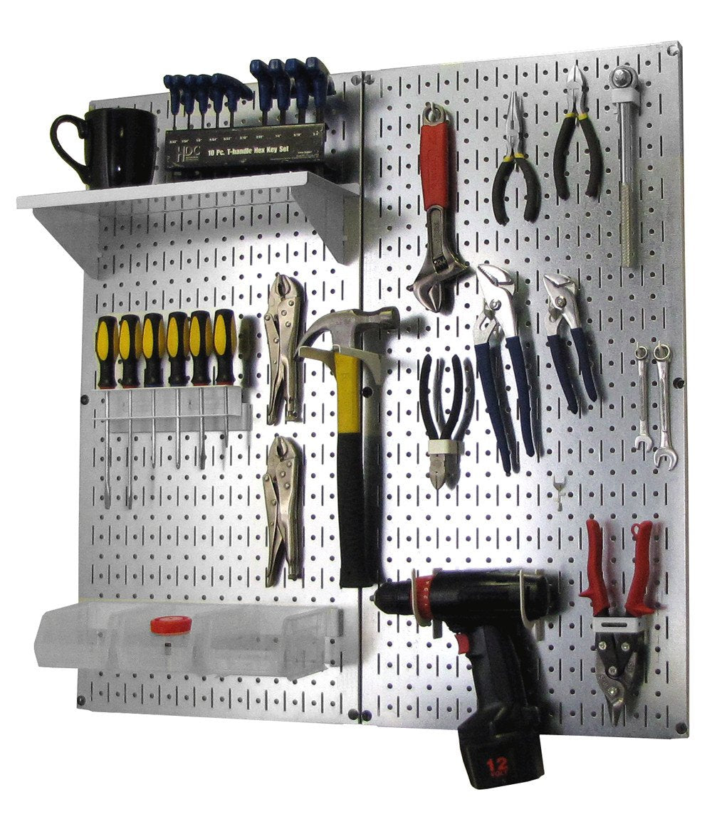 Metal Pegboard Utility Tool Storage Kit with Accessories - Metallic Galvanized/White