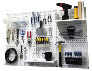 4' Metal Pegboard Standard Tool Organizer Kit with Accessories - White/White