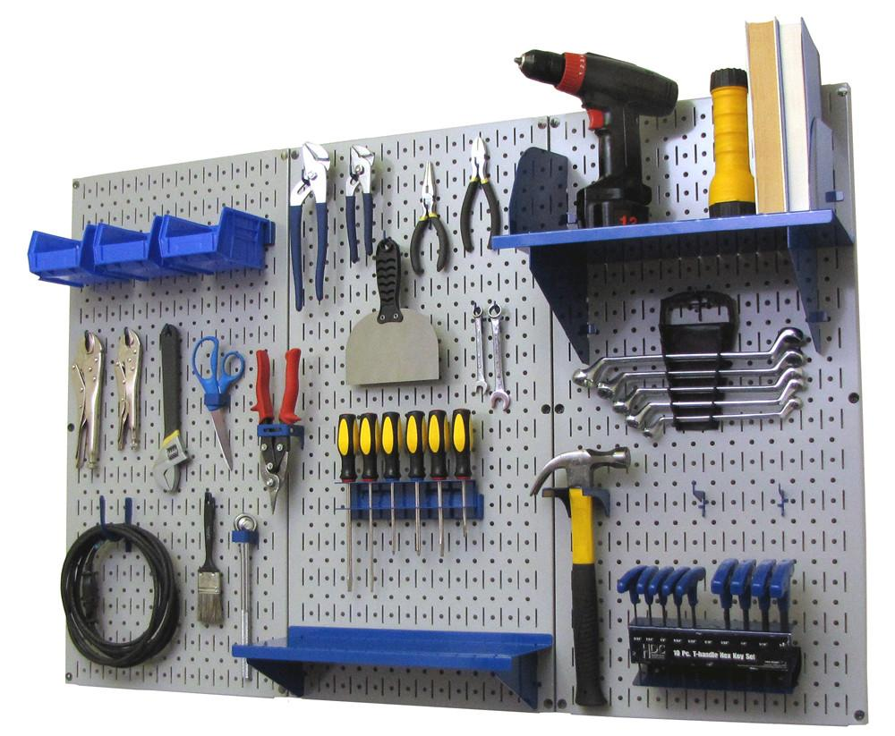 4' Metal Pegboard Standard Tool Organizer Kit with Accessories - Gray/Blue