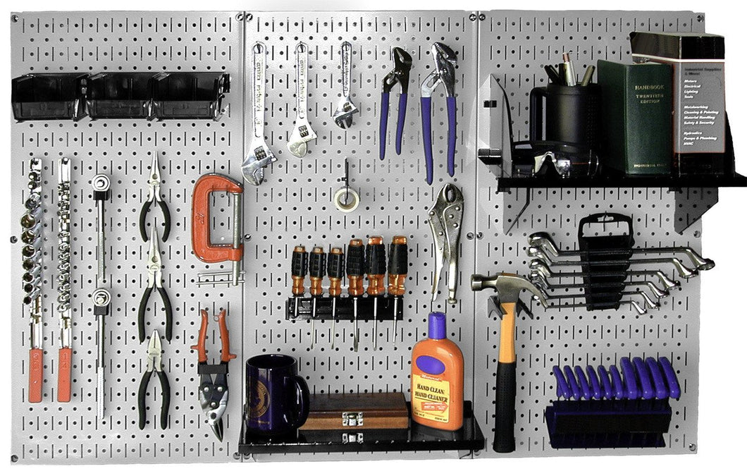 4' Metal Pegboard Standard Tool Organizer Kit with Accessories - Gray/Black