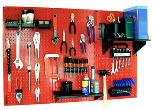 4' Metal Pegboard Standard Tool Organizer Kit with Accessories - Red/Black