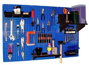 4' Metal Pegboard Standard Tool Organizer Kit with Accessories - Blue/Black