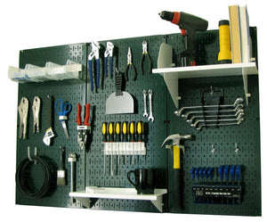 4' Metal Pegboard Standard Tool Organizer Kit with Accessories - Green/White
