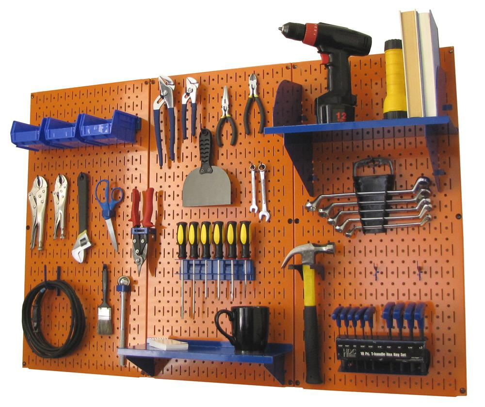 4' Metal Pegboard Standard Tool Organizer Kit with Accessories - Orange/Blue