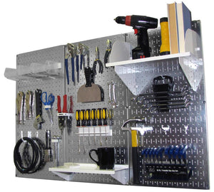 4' Metal Pegboard Standard Tool Organizer Kit with Accessories - Galvanized Metallic/White