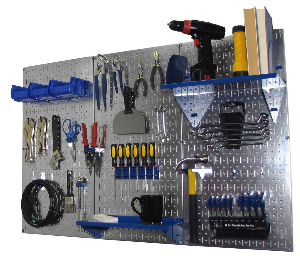 4' Metal Pegboard Standard Tool Organizer Kit with Accessories - Galvanized Metallic/Blue