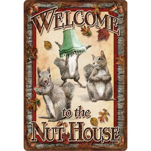"Tin Sign Nut House, Size 12"" x 17"""