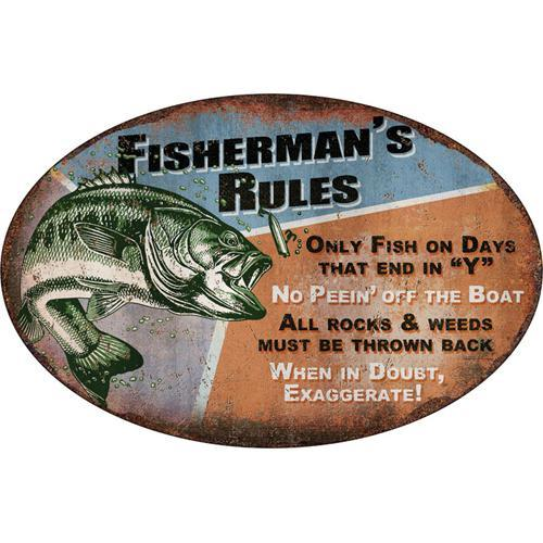 Tin Sign Fisherman's Rules, Size 12