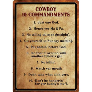 "Tin Sign Warning-Cowboy 10 Commandment, Size 12"" x 17"""