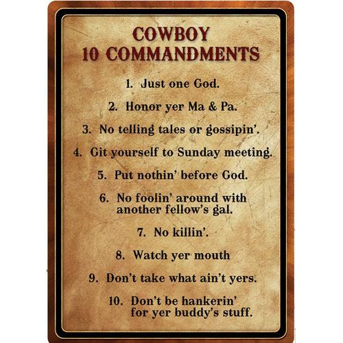 Tin Sign Warning-Cowboy 10 Commandment, Size 12