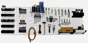 8' Metal Pegboard Master Workbench Tool Organizer Kit with Accessories - White/Black