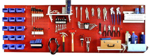 8' Metal Pegboard Master Workbench Tool Organizer Kit with Accessories - Red/White