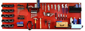 8' Metal Pegboard Master Workbench Tool Organizer Kit with Accessories - Red/Black