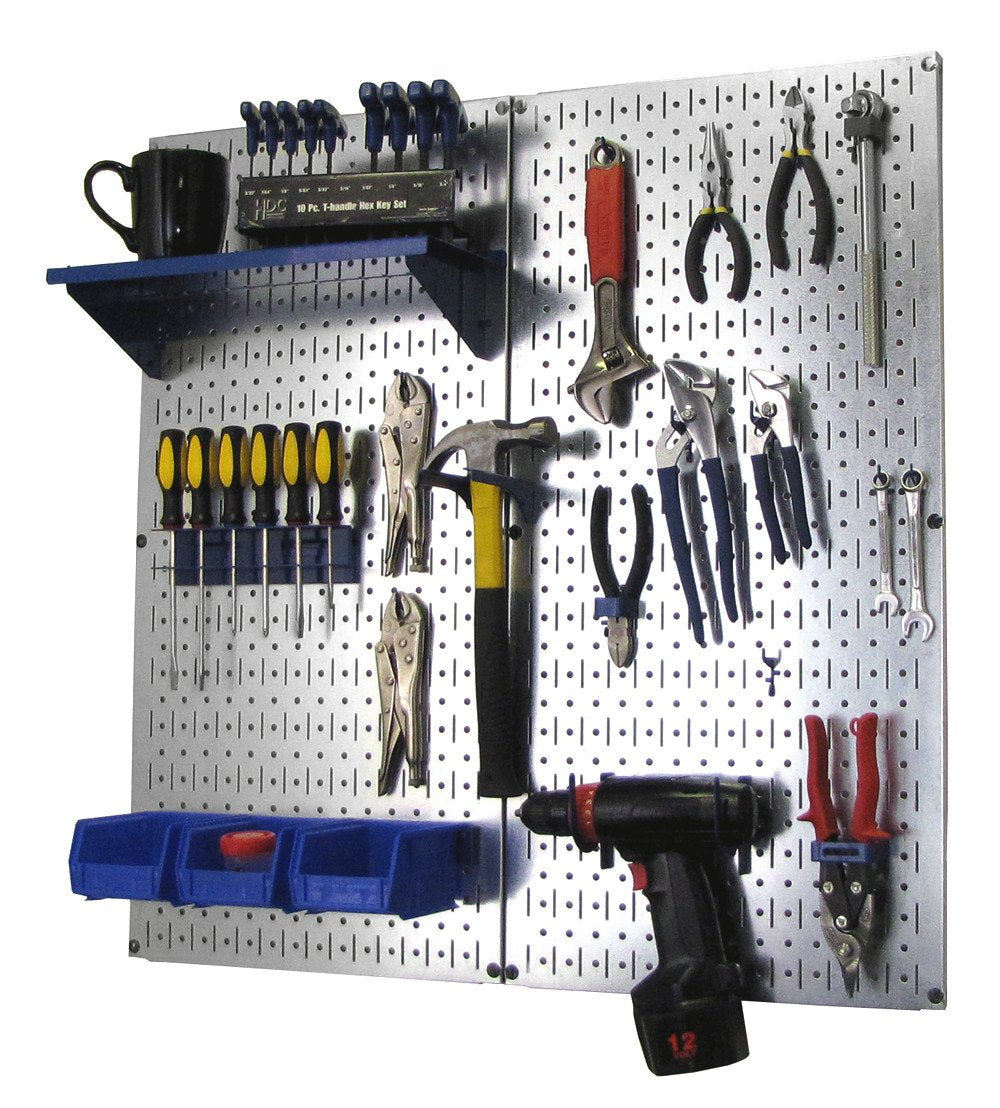 Metal Pegboard Utility Tool Storage Kit with Accessories - Metallic Galvanized/Blue
