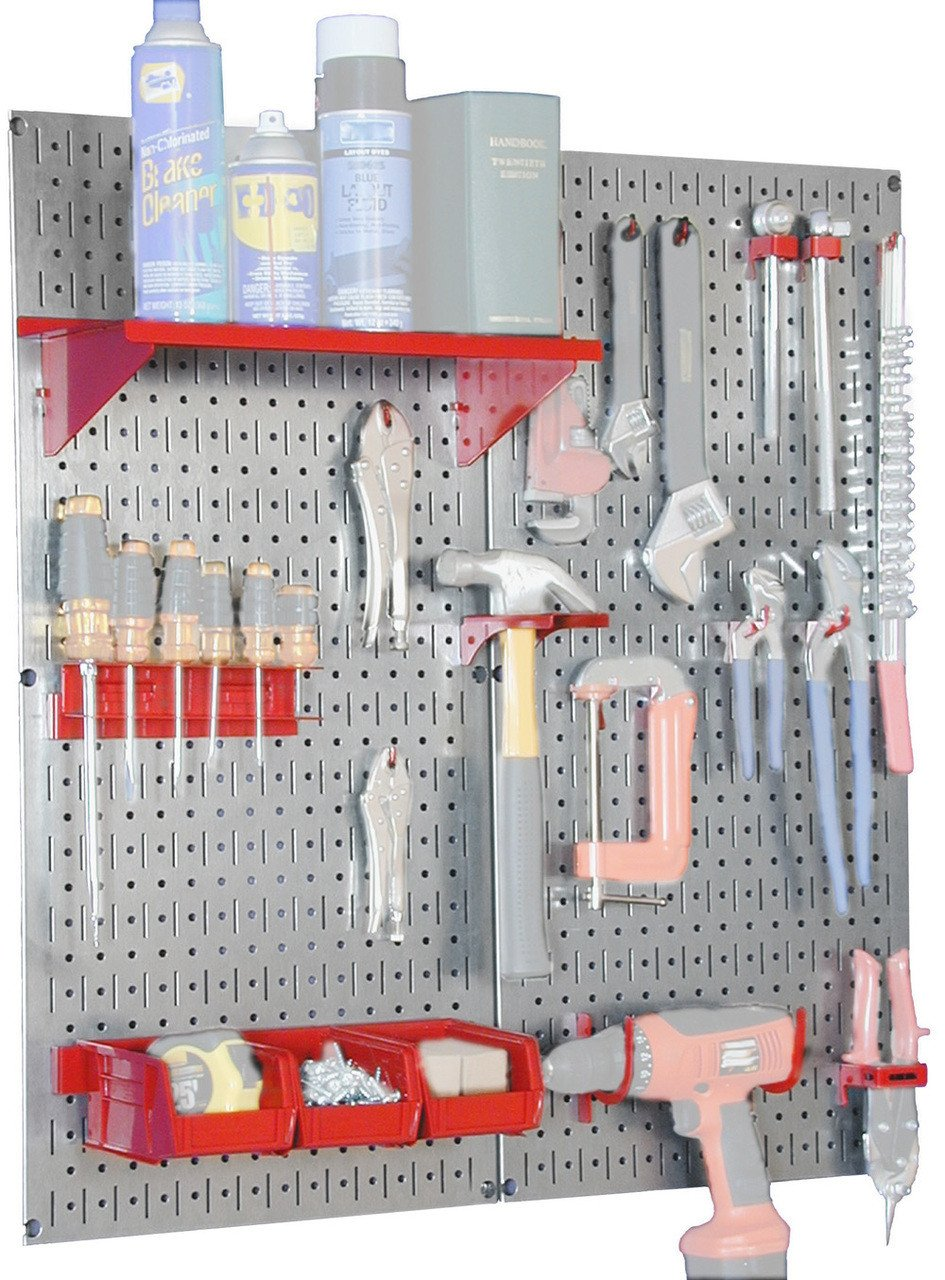 Metal Pegboard Utility Tool Storage Kit with Accessories - Metallic Galvanized/Red