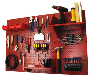 4' Metal Pegboard Standard Tool Organizer Kit with Accessories - Red/Red