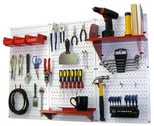 4' Metal Pegboard Standard Tool Organizer Kit with Accessories - White/Red